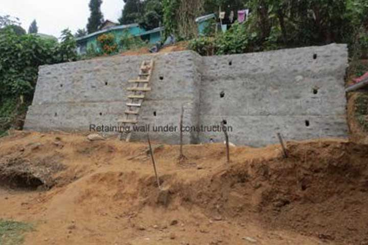 The new retaining wall
